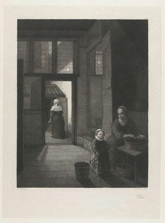 Lambertus Antonius Claessens | Binnenhuis met een kolf spelend meisje en haar moeder, Lambertus Antonius Claessens, c. 1792 - 1834 | In een kamer zit een vrouw die granen of peulvruchten verleest. Naast haar staat een meisje dat kolf speelt. Via een deur naar de binnenplaats is een oude vrouw met een melkkan te zien die naar het voorhuis loopt.