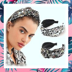 (This is an affiliate pin) Campsis Fashion Sequins Headbands Elastic Knotted Hairband Wide Sparkle Hair Hoops for Women and Girls (Pack of 2) #haircare #headbands