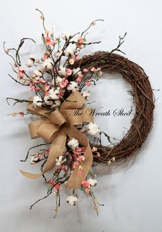 Blossom/Cotton Boll Wreath, Natural Cotton Bolls, Wedding Wreath, 2nd Anniversary Gift, Farmhouse Decor, Burlap Bow, Country Primitive Decor