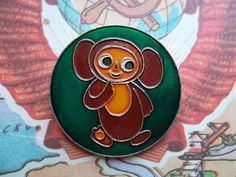 rare vintage  soviet pin badge Cheburashka - a character of children Russian cartoon. Made in the USSR.