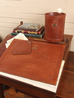 Col. Littleton No. 17 Desk Pad, No. 20 Wastebasket. Made in the USA.
