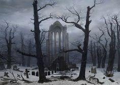 Caspar David Friedrich Monastery Graveyard in the Snow, 1817-19