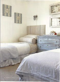 linen headboards + bolsters + ticking duvets Full Bloom Cottage: Romantic Homes May 2011 Issue....