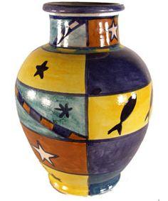 Ceramic African Design Vase (Morocco) | Overstock.com Shopping - Great Deals on Vases
