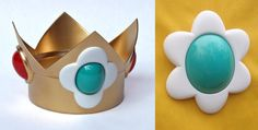 This is Nintendos Princess Daisy crown and matching jewel. The crown is fabricated of urethane plastic and is finished in bright gold