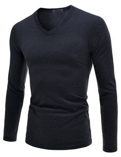 (NLVT02) TheLees Mens Slim Fit Ultimate Cotton V-neck 긴 소매 티셔츠
