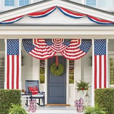 Our Patriotic Bunting is ideal for decorating fences and banisters. Show your spirit to neighbors and friends alike.Durable poly-cotton constructionBunting can be gathered in a variety of ways for different looksMoisture- and fade-resistantMade in America by Annin & Co., the oldest and largest flag manufacturer in the United States.