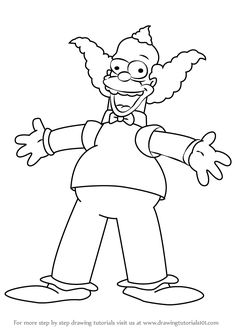 How to Draw Krusty the Clown from The Simpsons step by step, learn drawing by this tutorial for kids and adults. Animated Cartoon Movies, Drawing Cartoon Characters, Cartoon Drawings, Cool Drawings, Pokemon Coloring Pages, Cute Coloring Pages, Cartoon Coloring Pages, Coloring Books, Simpsons Drawings