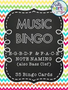 Music Bingo: Treble clef or bass clef note naming on lines and spaces. Perfect for an elementary music sub plan!