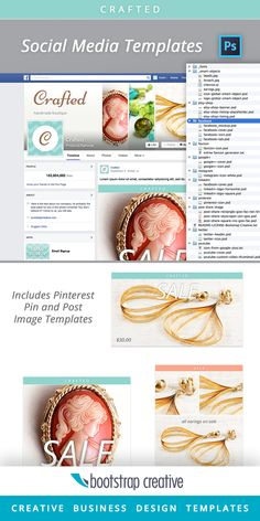 Facebook Cover PSD Template - Social Media Template Kit Download. Includes: Facebook, Instagram, Etsy, Twitter, YouTube, LinkedIn, and Pinterest. #CraftedTemplates