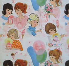 Vintage Teen BIRTHDAY Gift Wrap Wrapping Paper - 1960s GIRL Teenagers at a PARTY