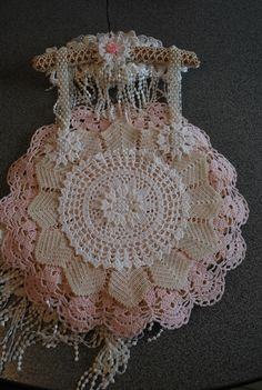 shabby chic doily wallhanging created for my swap partner Jean W. - back