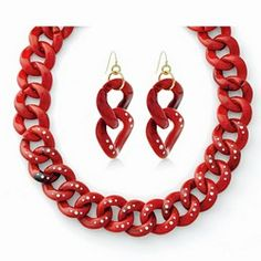 BUCKINGHAM BEAUTY VALUE SET - SET OF 2--Going to London to see the queen? Don't forget to pack this elegant pairing of a luxurious thick red acrylic link necklace with glass stone accents and matching earrings with fish hook backs!  Buy the Earrings for $19 and get the Necklace FREE.