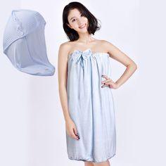 Beroyal Bamboo Towels Drying Spa Wrap Soft Bowknot Bathrobe+ Hair Drying Cap Set