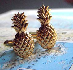 Pineapple Cufflinks Vintage Inspired Gothic Victorian Art Deco Tiki Men's Cuff Links & Accessories Antiqued Gold Tone Metal. $45.00, via Etsy.