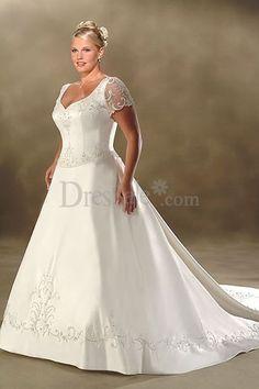 A-line V-neck Chapel Train Short Satin Plus Size Wedding Dress For Brides Plus Size Wedding Dresses With Sleeves, Plus Size Wedding Gowns, 2016 Wedding Dresses, Bridal Dresses, Bridesmaid Dresses, Dress Wedding, Party Dresses, Lace Wedding, Mode Xl