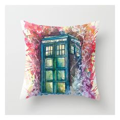 Doctor Who Tardis Throw Pillow ($20) ❤ liked on Polyvore featuring home, home decor, throw pillows and doctor who throw pillow