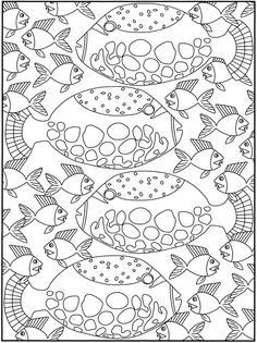 Tropical Flame Angelfish Coloring Page Line Art Drawing BW Image See More Dover Publications SPARK Fancy Fish Book
