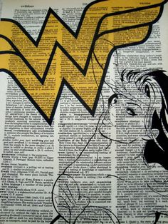 Wonder Woman dictionary page art free shipping by ExquisitePrints, $10.00