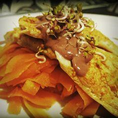 Grilled trout with carrot pappardelle, lemon-wine sauce and radish sprouts :) | Grillowany pstrąg z pappardelle z marchewki, sosem winno cytrynowym i kiełkami rzodkiewki :)