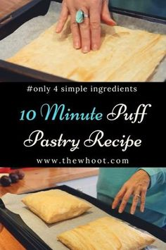 The Best 4 Ingredient 10 Minute Puff Pastry is part of Pastry dough recipe - This 10 minute puff pastry will be your new go to recipe You'll also love the quick video that shows you 4 ways to make delicious puff pastry treats Pastry Dough Recipe, Puff Pastry Dough, Crust Recipe, Rough Puff Pastry, Choux Pastry, Baking Recipes, Dessert Recipes, Tandoori Masala, Bread And Pastries