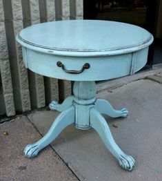 Pedestal Table in Pale Blue with Black Glaze. Pedestal Table in Pale Blue with Black Glaze. From Facelift Furniture's End Tables collection. Furniture Diy, Blue Furniture, End Tables, Wooden Living Room Furniture, Refinishing Furniture, Furniture, Home Decor, Distressed Furniture Diy, Vintage Furniture