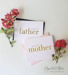 Gold Foil Card To Mother Or Father