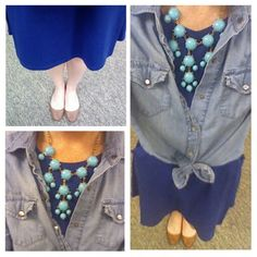 Cobalt blue dress, chambray shirt, turqouise necklace outfit
