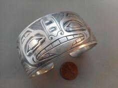 Northwest Coast wide etched silver Tlingit bracelet by Jenny Lyn Smith