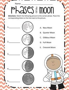 Phases Assessment Assess your students with this Moon Phases Matching worksheet Note This was made was made in simple terms Before students knew the difference between Wa. 1st Grade Science, Kindergarten Science, Elementary Science, Science Classroom, Teaching Science, Science For Kids, Earth Science, Social Science, Preschool