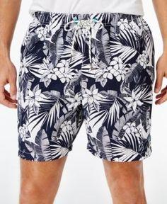 Tommy Bahama Men's Big & Tall Naples Plumeria Paradise Tropical-Print Sun Protection 50 Swim Trunks - Blue