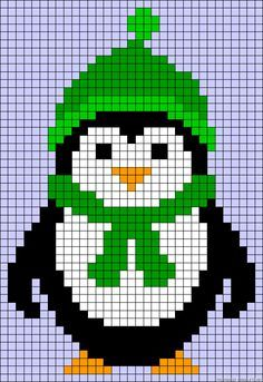 Winter penguin perler bead pattern