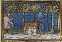 Depiction of Faustulus discovering Romulus and Remus with the she-wolf Medieval Manuscript, Medieval Art, Illuminated Manuscript, History Of Wine, World History, Romulus Et Remus, Rome Antique, She Wolf, Occult Art