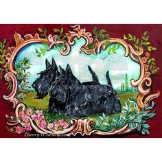 Scottish Terrier art by Cherry O'Neill for Tailendproductions.com. Scottish highland dogs for Scottie lovers.