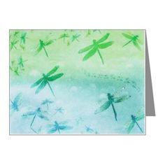 Vibrant Aqua Dragonflies Note Cards (Pk of 10) on CafePress.com