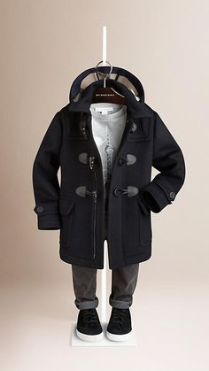 True navy Wool Duffle Coat - Image 1