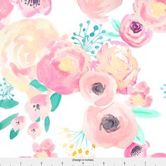 Watercolor Floral Fabric - Indy Bloom Blush Baby By Indybloomdesign - Modern Nursery Decor Floral Cotton Fabric By The Yard With Spoonflower by Spoonflower on Etsy https://www.etsy.com/listing/499037321/watercolor-floral-fabric-indy-bloom