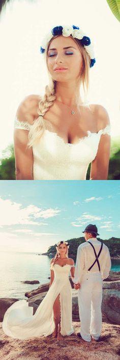 Beach Lace Off The Shoulder Long Chiffon Wedding Dresses WD213 #weddingdress #beachwedding #weddings #pgmdress #pgmdress