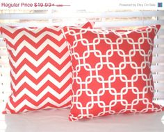 SALE Pillow Covers Pillows Coral Pillows by PillowsByJanet on Etsy