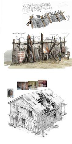 Apocalypse World, Apocalypse Art, Apocalypse Survival, Environment Concept Art, Environment Design, Prop Design, Game Design, Fallout 4 Settlement Ideas, Post Apocalyptic Art