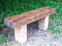 Solid Oak Bench, all reclaimed materials, handmade. £230.
