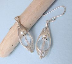 Crystal Clear - Quartz Crystal Pearl Woven Herringbone Wire Wrapped Silver Earrings by MoonMystic, via Flickr