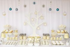white christmas dessert table