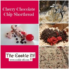 Cherry Chocolate Chip Shortbread: ingredients, directions, and special baking tips from The Elf to make this easy cookie recipe. Shortbread Recipes, Shortbread Cookies, Bar Cookies, Cookie Bars, Christmas Baking, Christmas Cookies, Cherry Cookies, Cooking Recipes