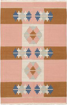 Hand woven Palas Shirvan Peach Wool Kilim
