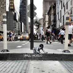 joe iurato's wooden street art miniatures narrate stories of urban life