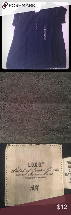 L H&M navy lace Tshirt L H&M navy lace Tshirt H&M Tops Tees - Short Sleeve
