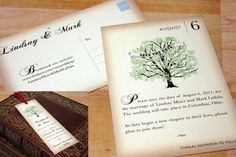 The Vintage Book save the date cards are a fun way to announce your upcoming wedding. They can be done as traditional cards with envelopes, postcards,