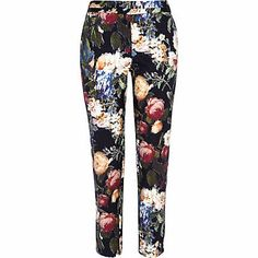 Black floral print slim cigarette pants £40.00