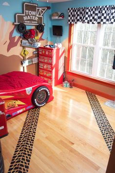 ShaNickers Tire Tracks Wall/Floor Decal by ShaNickersWallDecals Boy Car Room, Boys Car Bedroom, Truck Room, Bedroom Art, Bedroom Themes, Car Bedroom Ideas For Boys, Boy Rooms, Kids Rooms, Hot Wheels Bedroom